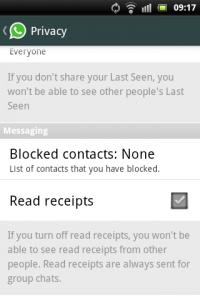 WhatsApp: Read receipts