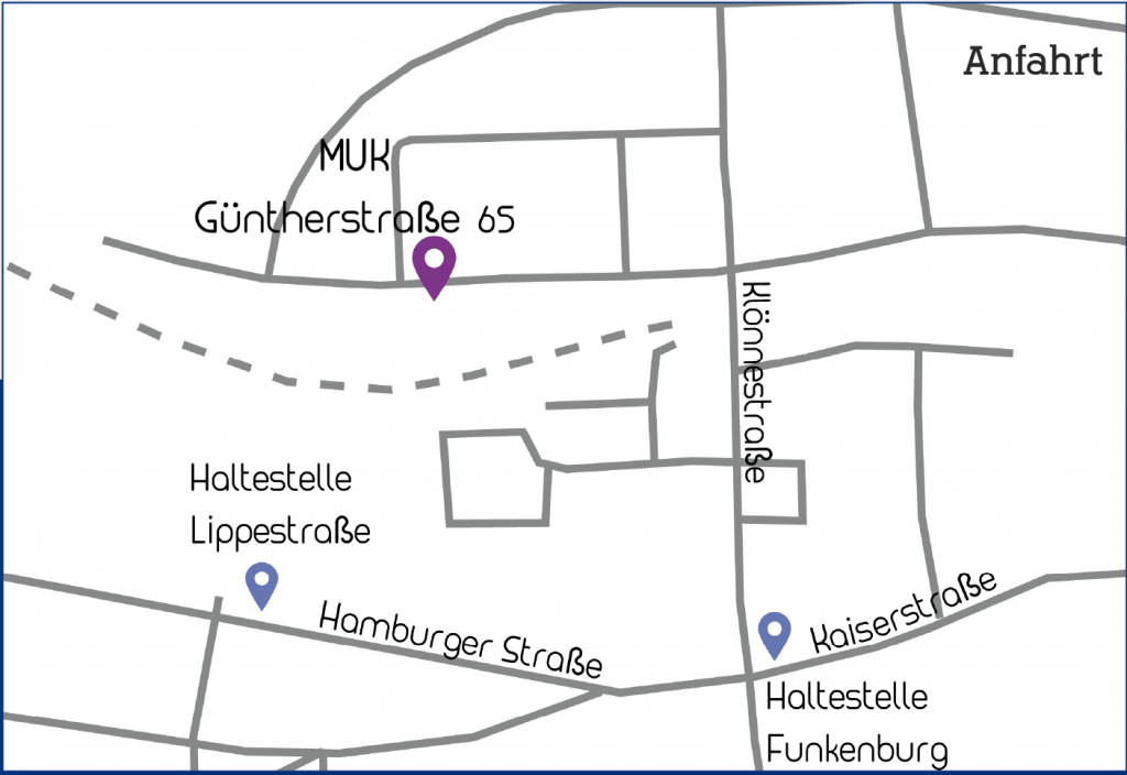 Anfahrt MUK, Güntherstraße 65, 44143 Dortmund